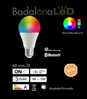 BOMBILLA LED 9w SMART MULTITONO RGB
