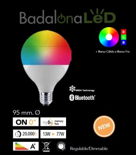 BOMBILLA LED GLOBO SMART MULTITONO RGB